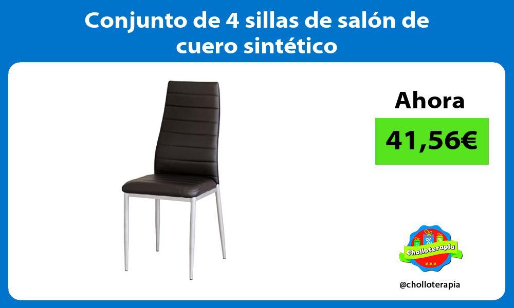 Conjunto de 4 sillas de salón de cuero sintético