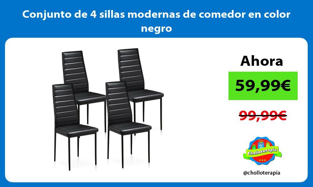 Conjunto de 4 sillas modernas de comedor en color negro