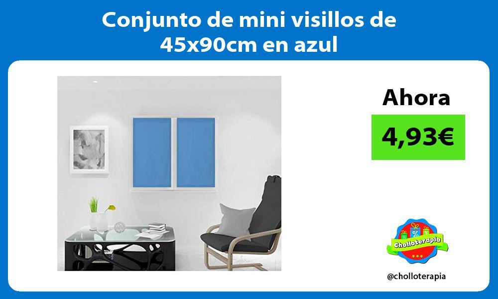 Conjunto de mini visillos de 45x90cm en azul