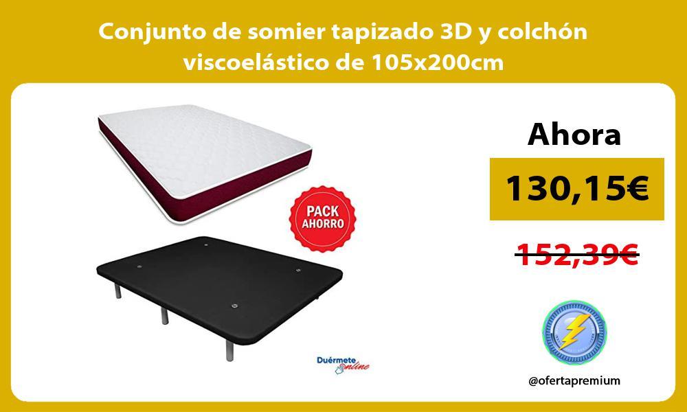 Conjunto de somier tapizado 3D y colchón viscoelástico de 105x200cm