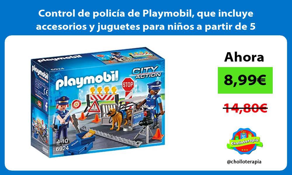 Control de policía de Playmobil que incluye accesorios y juguetes para niños a partir de 5 años