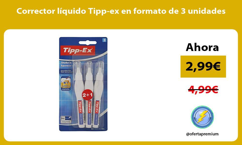 Corrector líquido Tipp ex en formato de 3 unidades