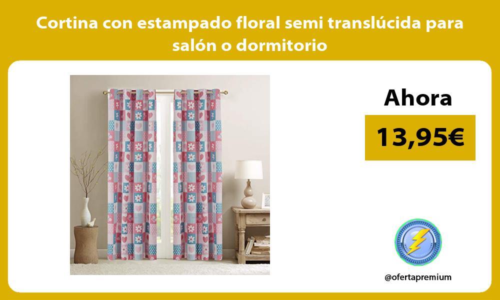 Cortina con estampado floral semi translúcida para salón o dormitorio