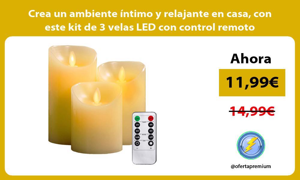 Crea un ambiente íntimo y relajante en casa con este kit de 3 velas LED con control remoto