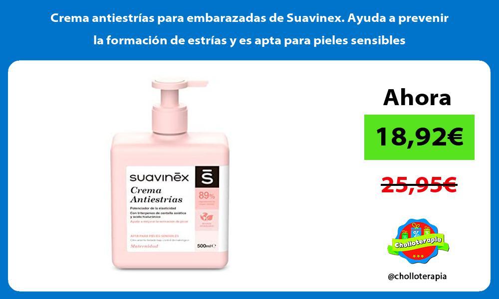 Crema antiestrías para embarazadas de Suavinex Ayuda a prevenir la formación de estrías y es apta para pieles sensibles
