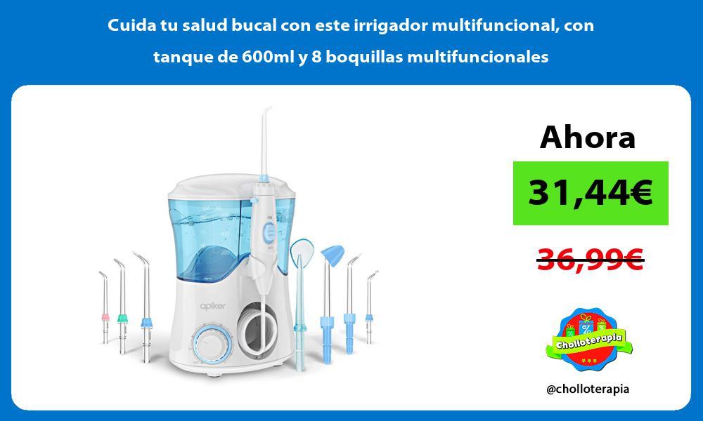 Cuida tu salud bucal con este irrigador multifuncional con tanque de 600ml y 8 boquillas multifuncionales