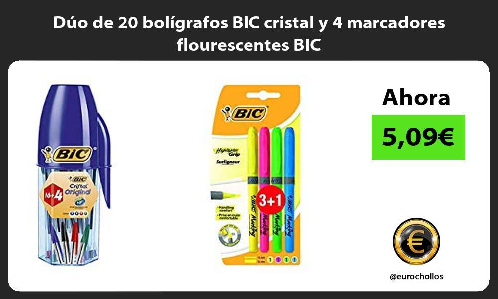 Dúo de 20 bolígrafos BIC cristal y 4 marcadores flourescentes BIC