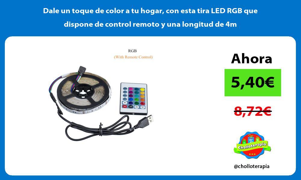 Dale un toque de color a tu hogar con esta tira LED RGB que dispone de control remoto y una longitud de 4m