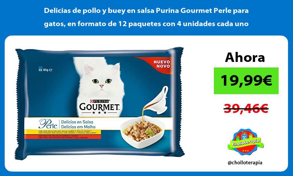Delicias de pollo y buey en salsa Purina Gourmet Perle para gatos en formato de 12 paquetes con 4 unidades cada uno