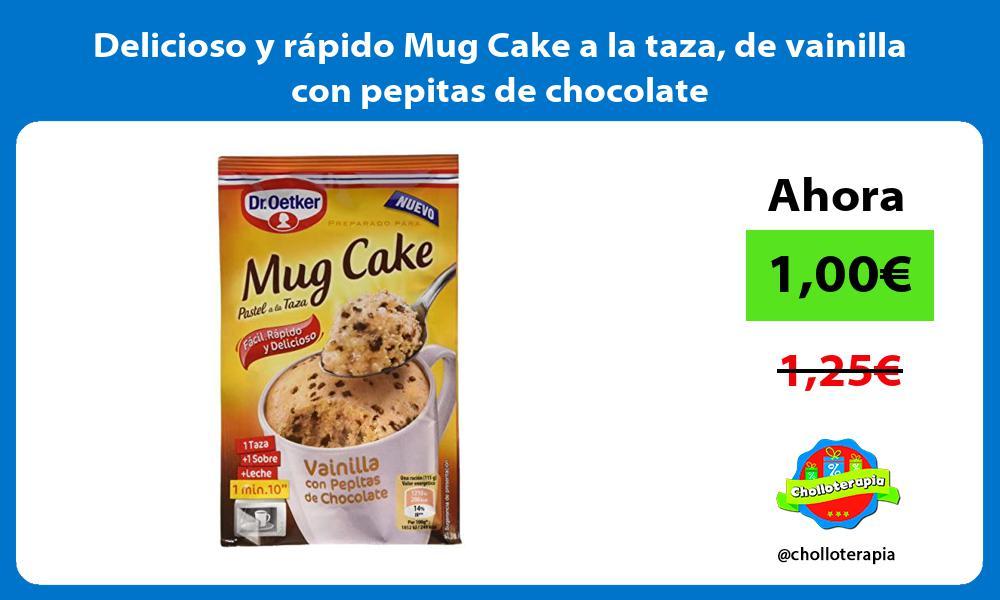 Delicioso y rápido Mug Cake a la taza de vainilla con pepitas de chocolate