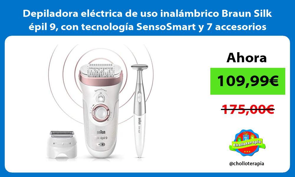 Depiladora eléctrica de uso inalámbrico Braun Silk épil 9 con tecnología SensoSmart y 7 accesorios