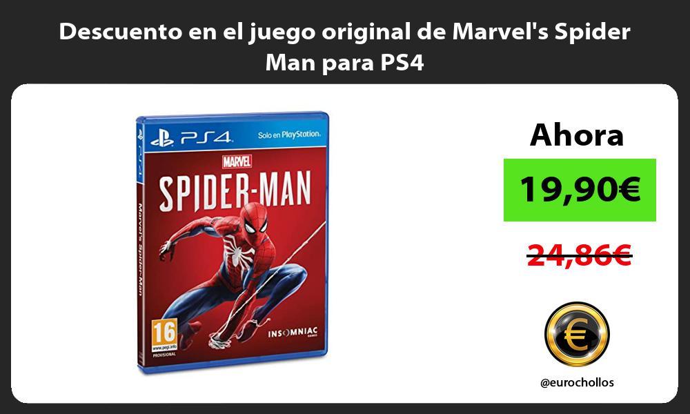 Descuento en el juego original de Marvels Spider Man para PS4
