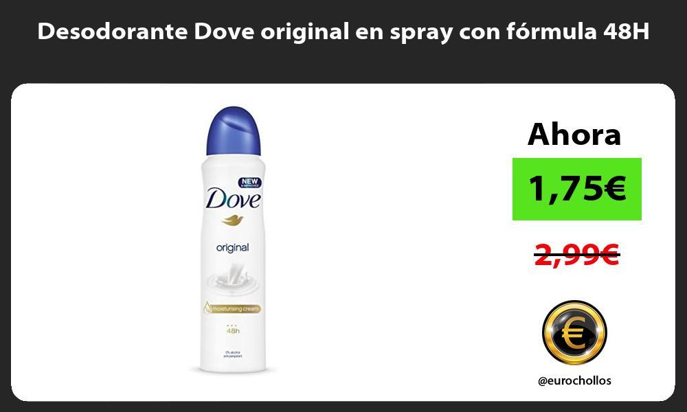 Desodorante Dove original en spray con fórmula 48H