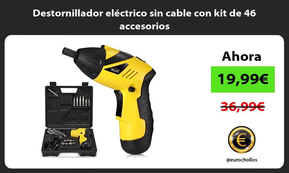 Destornillador eléctrico sin cable con kit de 46 accesorios