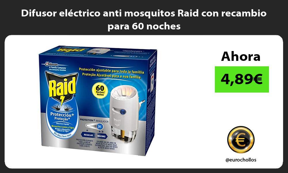 Difusor eléctrico anti mosquitos Raid con recambio para 60 noches