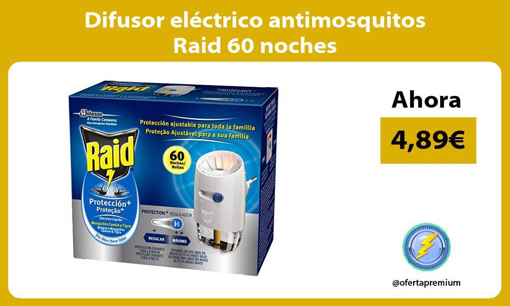 Difusor eléctrico antimosquitos Raid 60 noches