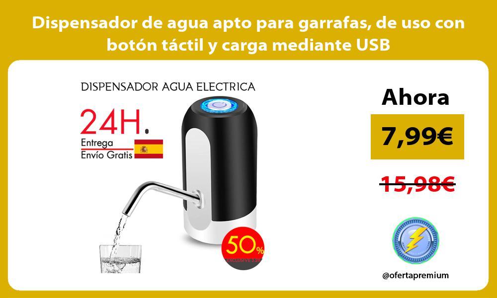 Dispensador de agua apto para garrafas de uso con botón táctil y carga mediante USB