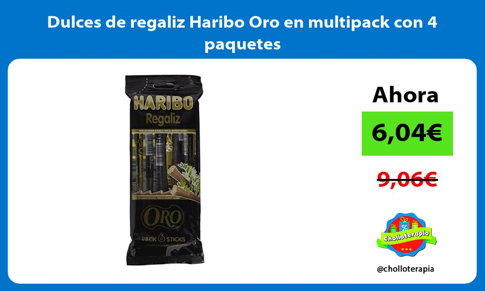 Dulces de regaliz Haribo Oro en multipack con 4 paquetes
