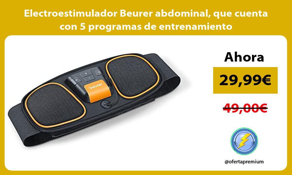 Electroestimulador Beurer abdominal que cuenta con 5 programas de entrenamiento