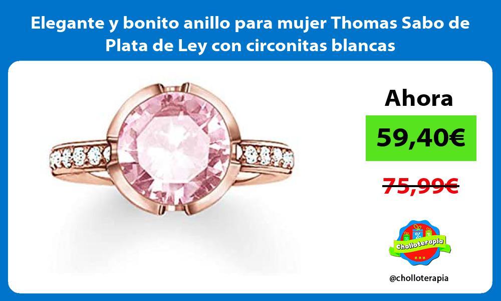 Elegante y bonito anillo para mujer Thomas Sabo de Plata de Ley con circonitas blancas