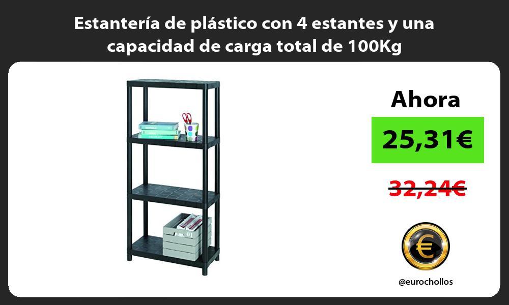 Estantería de plástico con 4 estantes y una capacidad de carga total de 100Kg