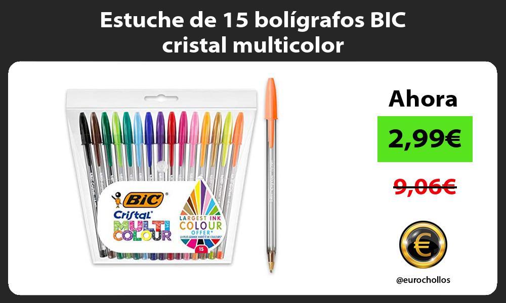 Estuche de 15 bolígrafos BIC cristal multicolor