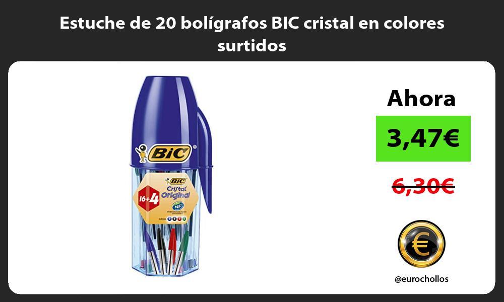 Estuche de 20 bolígrafos BIC cristal en colores surtidos