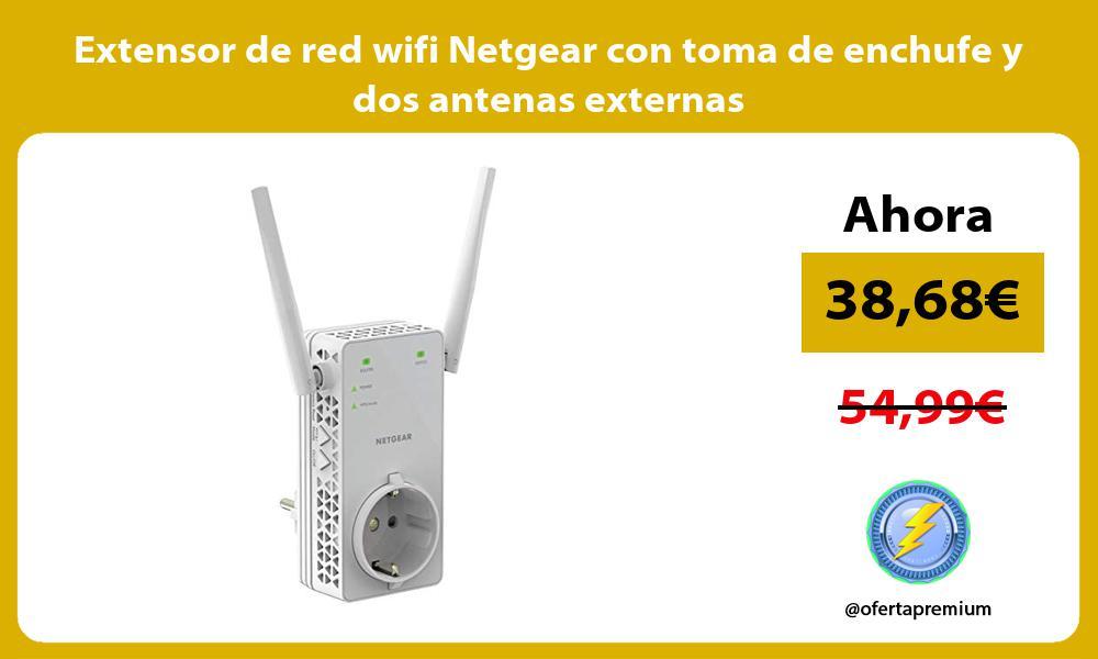 Extensor de red wifi Netgear con toma de enchufe y dos antenas externas