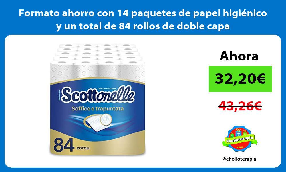 Formato ahorro con 14 paquetes de papel higiénico y un total de 84 rollos de doble capa