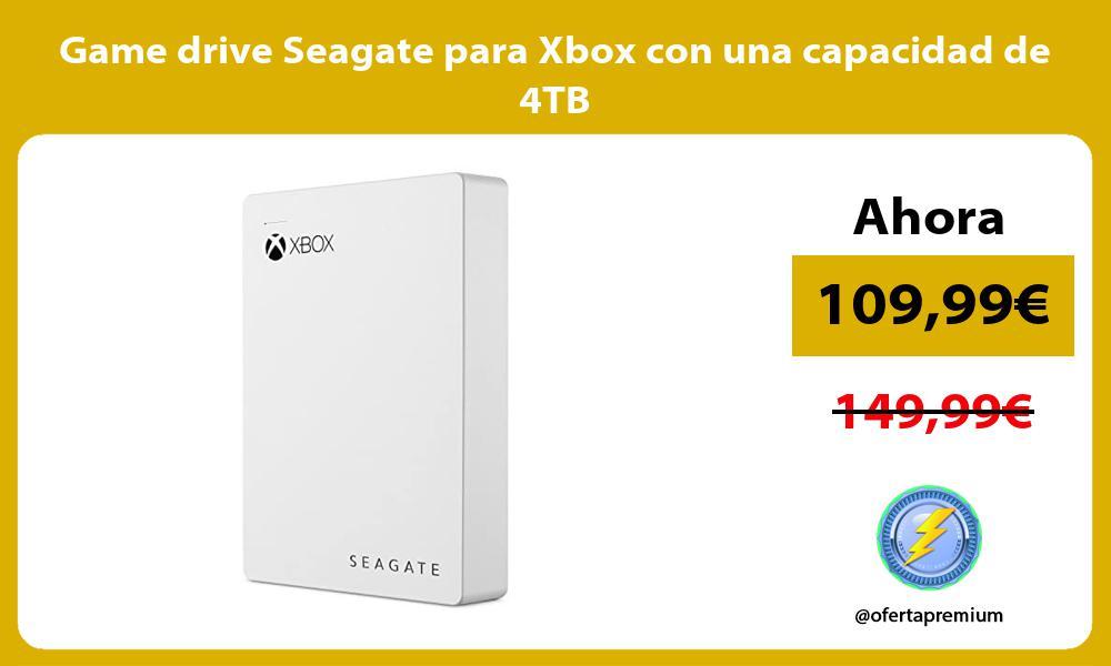 Game drive Seagate para Xbox con una capacidad de 4TB