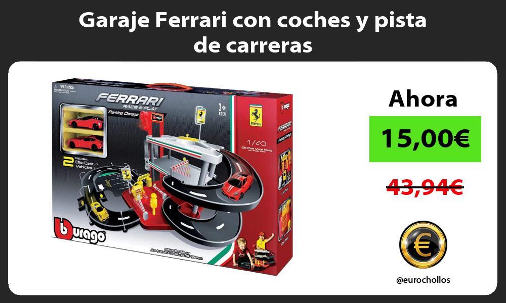 Garaje Ferrari con coches y pista de carreras