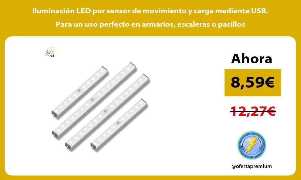 Iluminación LED por sensor de movimiento y carga mediante USB Para un uso perfecto en armarios escaleras o pasillos