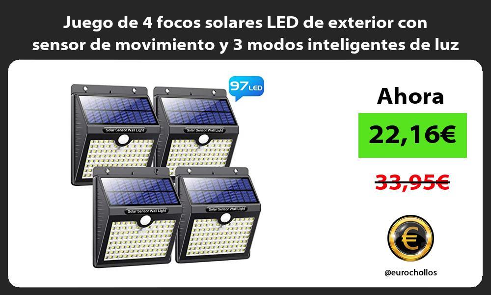 Juego de 4 focos solares LED de exterior con sensor de movimiento y 3 modos inteligentes de luz