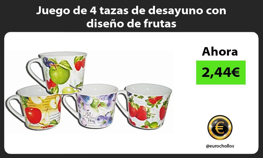 Juego de 4 tazas de desayuno con diseño de frutas