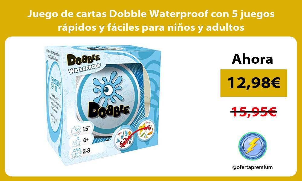 Juego de cartas Dobble Waterproof con 5 juegos rápidos y fáciles para niños y adultos