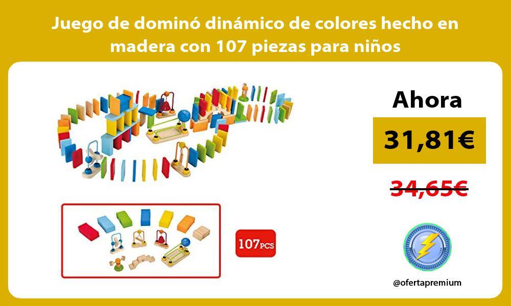 Juego de dominó dinámico de colores hecho en madera con 107 piezas para niños