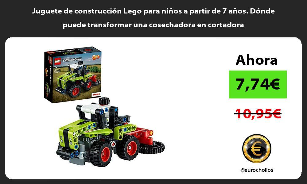 Juguete de construcción Lego para niños a partir de 7 años Dónde puede transformar una cosechadora en cortadora