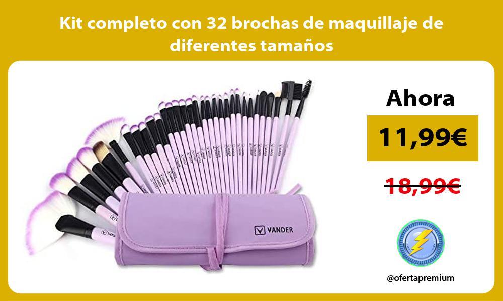 Kit completo con 32 brochas de maquillaje de diferentes tamaños