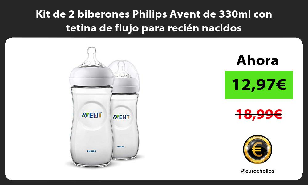 Kit de 2 biberones Philips Avent de 330ml con tetina de flujo para recién nacidos