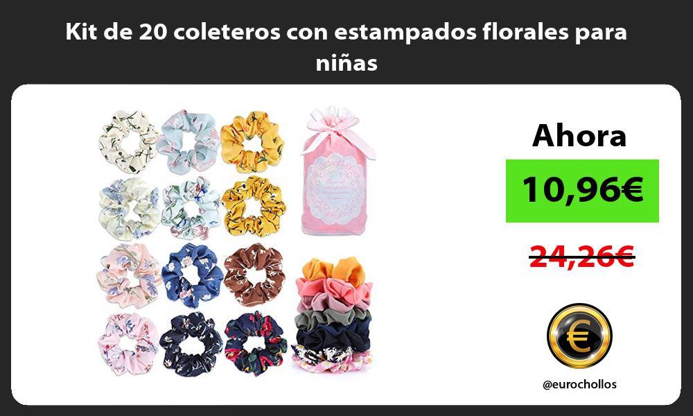 Kit de 20 coleteros con estampados florales para niñas