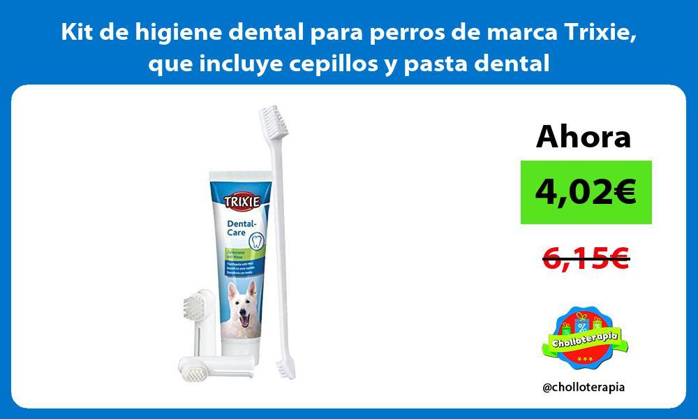 Kit de higiene dental para perros de marca Trixie que incluye cepillos y pasta dental