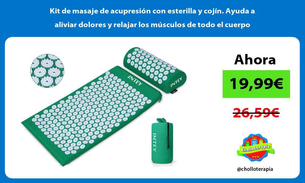 Kit de masaje de acupresión con esterilla y cojín Ayuda a aliviar dolores y relajar los músculos de todo el cuerpo