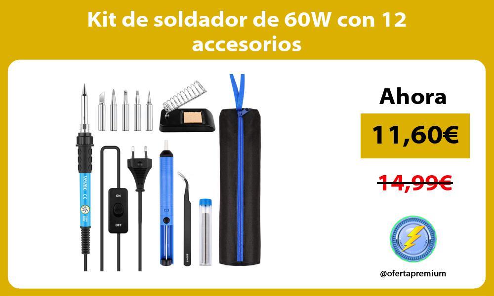 Kit de soldador de 60W con 12 accesorios