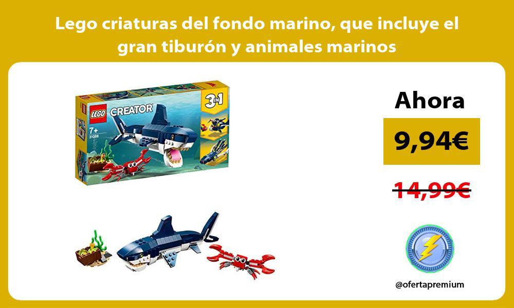 Lego criaturas del fondo marino que incluye el gran tiburón y animales marinos