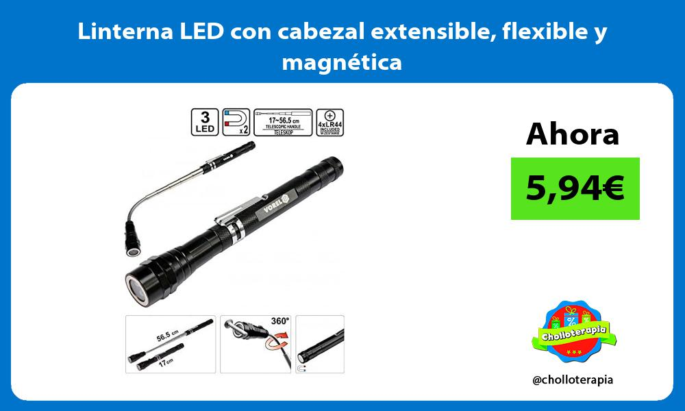 Linterna LED con cabezal extensible flexible y magnética
