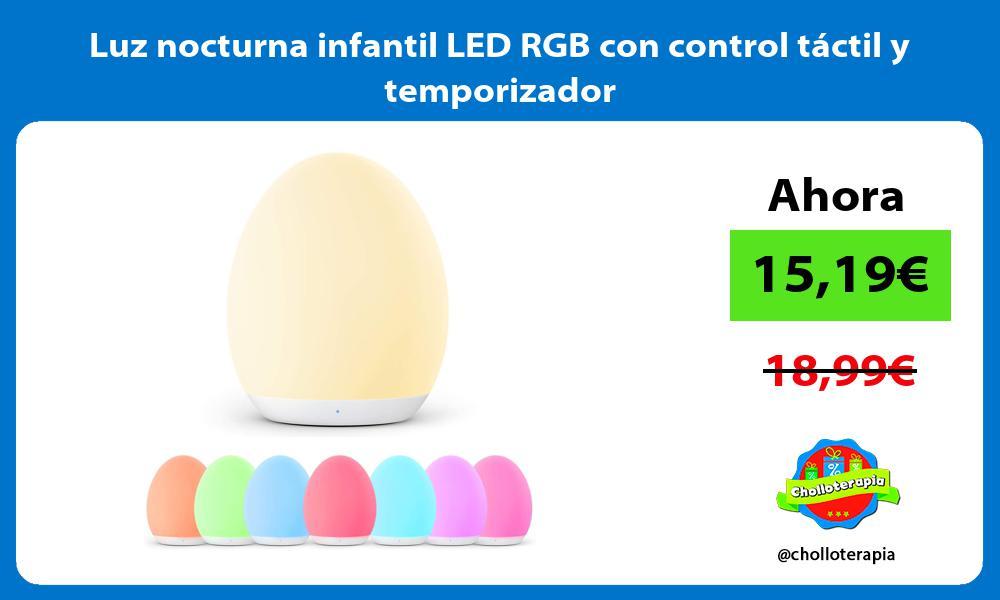 Luz nocturna infantil LED RGB con control táctil y temporizador