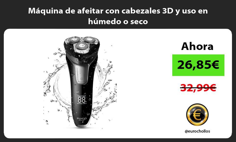 Máquina de afeitar con cabezales 3D y uso en húmedo o seco