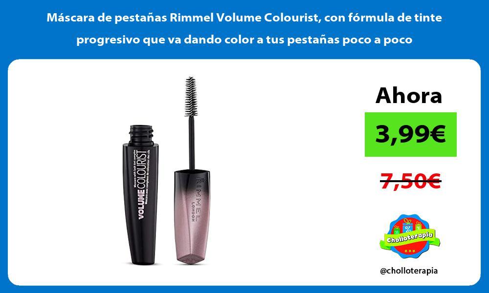 Máscara de pestañas Rimmel Volume Colourist con fórmula de tinte progresivo que va dando color a tus pestañas poco a poco