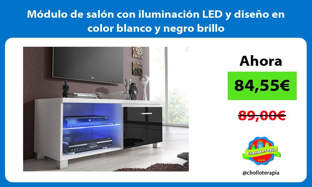 Módulo de salón con iluminación LED y diseño en color blanco y negro brillo