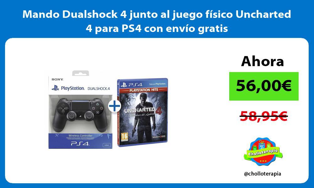 Mando Dualshock 4 junto al juego físico Uncharted 4 para PS4 con envío gratis